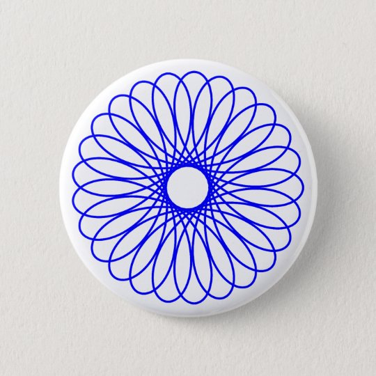 Blue Spirograph Button