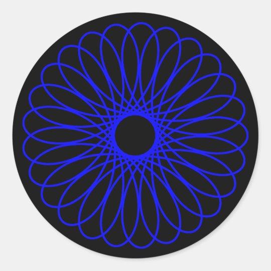 Blue Spirograph Classic Round Sticker