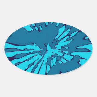 Blue Splash Abstract Design Oval Sticker
