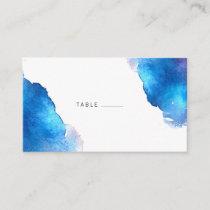 Blue Splash Watercolor Wedding Place Card