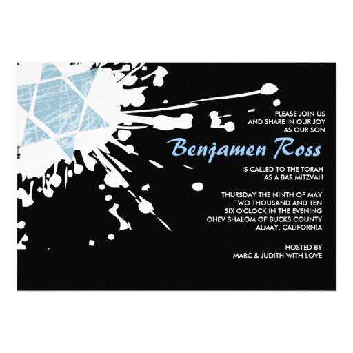 Blue Splatter Star Bar Bat Mitzvah Invitation