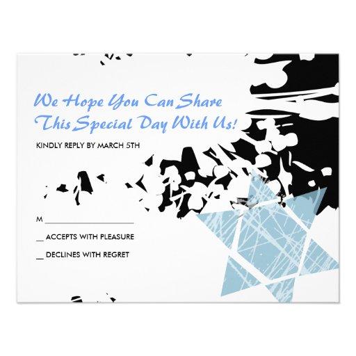 Blue Splatter Star Bar Bat Mitzvah Reply Card Custom Invites