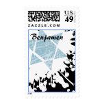 Blue Splatter Star Bar Bat Mitzvah Stamp postage
