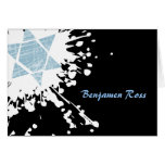 Blue Splatter Star Bar Bat Mitzvah Thank You Card