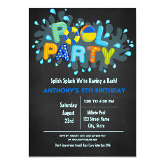 Blue Splish Splash  Come To Our Bash Pool Party Card