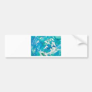 Blue Splodged Marble Effect Watercolour Bumper Sticker