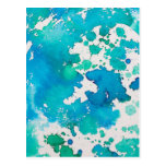 Blue Splodged Marble Effect Watercolour Postcard