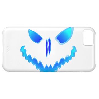 Blue Spooky Jack O Lantern Face Case For iPhone 5C