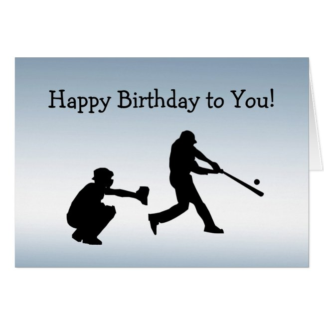 Blue Sports Baseball Play Ball Birthday Card
