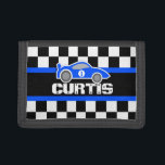 """Blue sports car name / age wallet<br><div class=""""desc"""">Encourage saving with this racing blue car wallet,  personalize with your own short name or nickname and add your child&#39;s age or favorite number to the side of the car. Currently reads Curtis. Uniquely designed by Sarah Trett.</div>"""