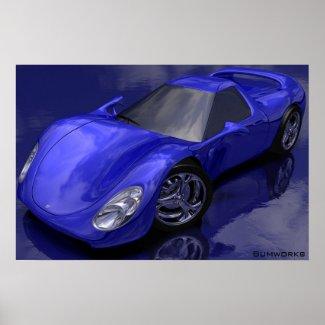 Blue Sports Car print