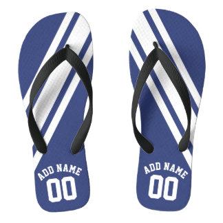 Blue Sports Jersey Custom Name Number Flip Flops
