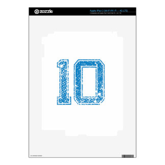 Blue Sports Jerzee Number 10 Decals For iPad 3