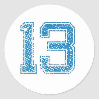 Blue Sports Jerzee Number 13 Classic Round Sticker
