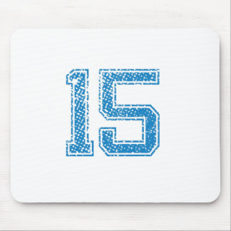 Blue Sports Jerzee Number 15 Mouse Pad
