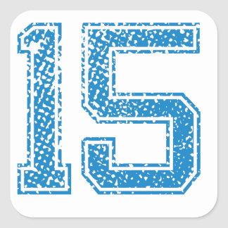 Blue Sports Jerzee Number 15 Square Sticker