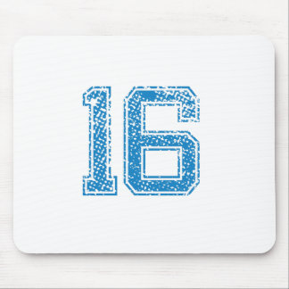 Blue Sports Jerzee Number 16 Mouse Pad