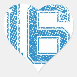 Blue Sports Jerzee Number 16 Heart Sticker