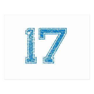 Blue Sports Jerzee Number 17 Postcard