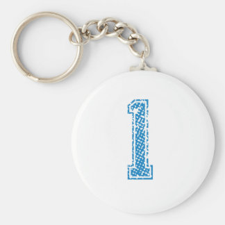 Blue Sports Jerzee Number 1 Keychain