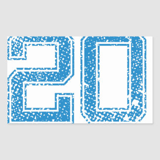 Blue Sports Jerzee Number 20 Rectangular Sticker