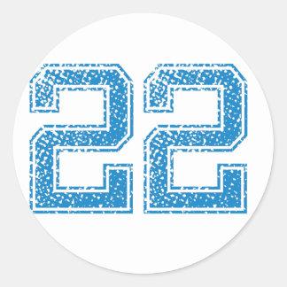 Blue Sports Jerzee Number 22 Classic Round Sticker