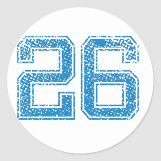 Blue Sports Jerzee Number 26 Classic Round Sticker