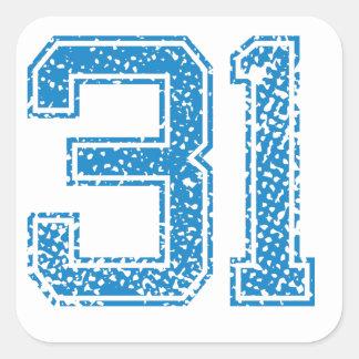Blue Sports Jerzee Number 31 Square Sticker
