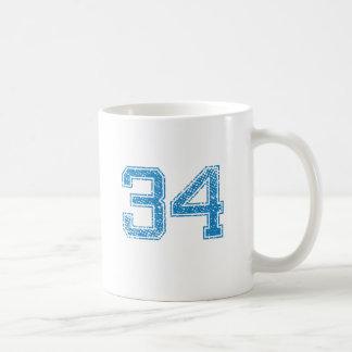 Blue Sports Jerzee Number 34 Coffee Mug