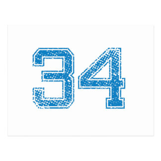Blue Sports Jerzee Number 34 Postcard