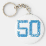 Blue Sports Jerzee Number 50 Basic Round Button Keychain