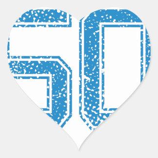 Blue Sports Jerzee Number 50 Heart Sticker