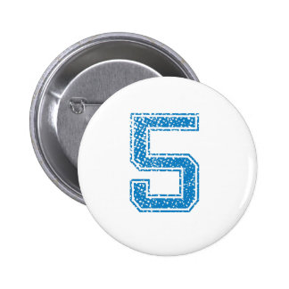 Blue Sports Jerzee Number 5 Pinback Button