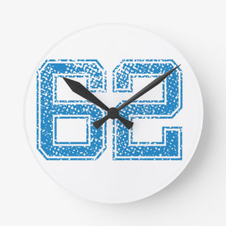Blue Sports Jerzee Number 62 Round Clock