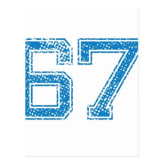 Blue Sports Jerzee Number 67 Postcard