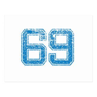 Blue Sports Jerzee Number 69 Postcard