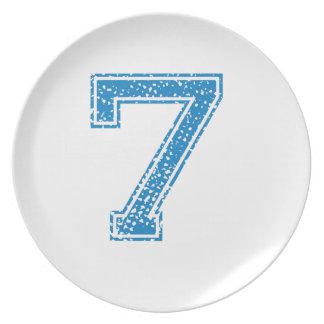 Blue Sports Jerzee Number 7 Dinner Plate