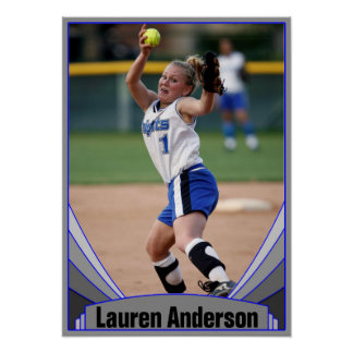 Blue Sports Photo and Player Name Custom Poster