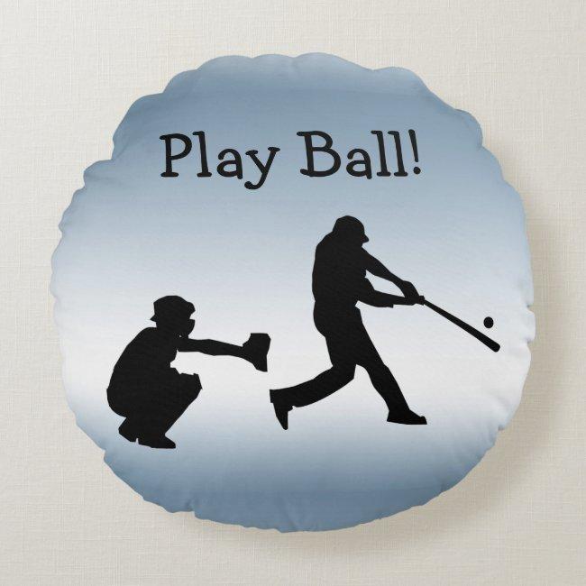 Blue Sports Play Ball Baseball Round Pillow