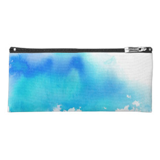 Blue spot, watercolor abstract hand painted pencil case