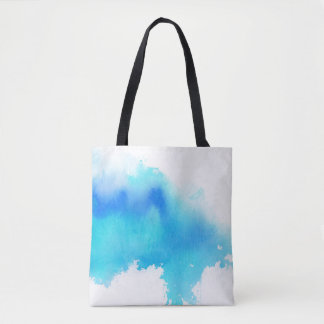 Blue spot, watercolor abstract hand painted tote bag
