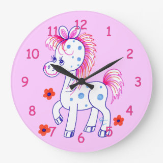 Blue Spotted Horse with Happy Smile (Pink) Wall Clocks