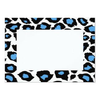 "Blue Spotted Leopard Print Invitation 5"" X 7"" Invitation Card"