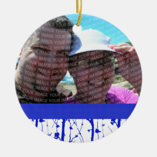 Blue Spring Blossoms Save The Date Double-Sided Ceramic Round Christmas Ornament