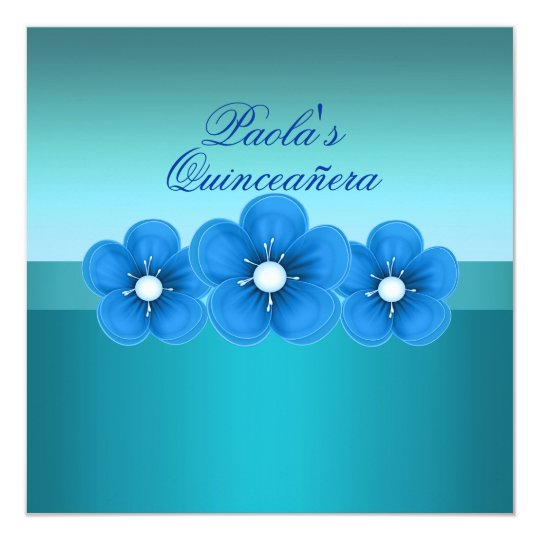 Blue Spring Flower Quinceañera Invitation