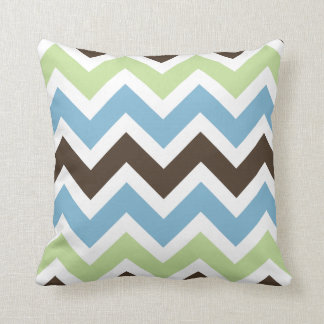 Blue, Spring Green, and Brown Chevron Pattern Pillows