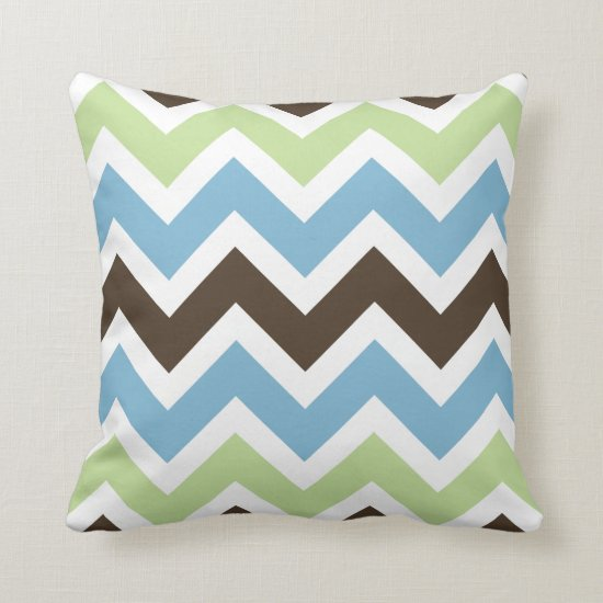 Blue Spring Green and Brown Chevron Pattern Throw Pillow