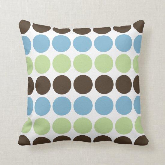 Blue Spring Green Brown Retro Circles Pattern Throw Pillow