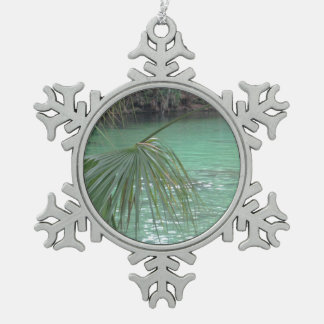 Blue Springs Florida Palm Snowflake Pewter Christmas Ornament
