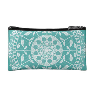 Blue Spruce Mandala Makeup Bag